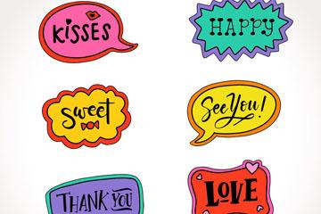 6款彩绘语言贴纸设计矢量素材