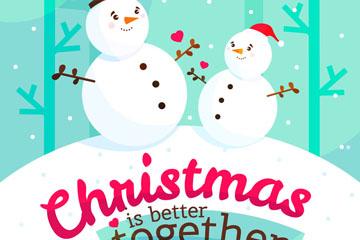 创意雪地圣诞雪人矢量素材