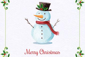 水彩绘圣诞节祝福雪人矢量素材