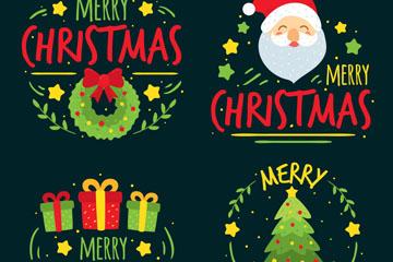 4款彩绘圣诞快乐标签矢量图