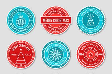9款圆形圣诞假期标签矢量素材