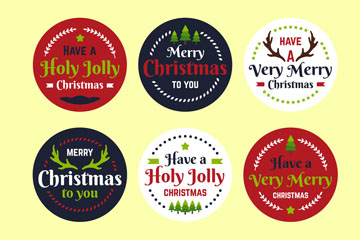 6款彩绘圆形圣诞节标签矢量图