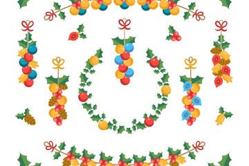 14款手绘圣诞植物挂饰矢量图