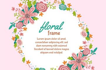 彩绘花卉圆环框架矢量素材