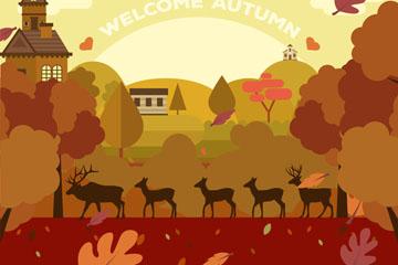 创意秋季鹿群剪影矢量素材