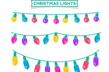 4款手绘圣诞彩灯串矢量素材