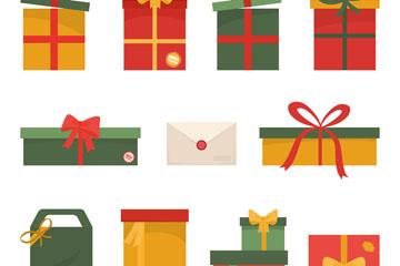 11款扁平化节日礼物矢量素材