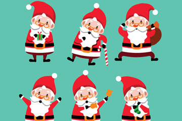 6款可爱圣诞老人设计矢量素材