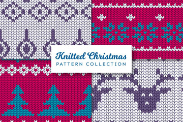 4款创意圣诞针织无缝背景矢量图