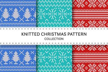 3款创意圣诞节针织图案无缝背景矢量图