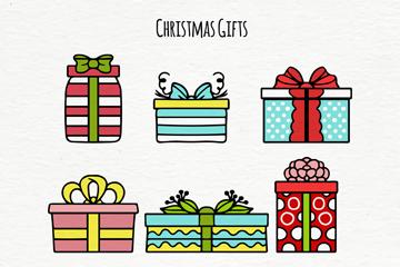 9款彩绘圣诞节礼物矢量素材