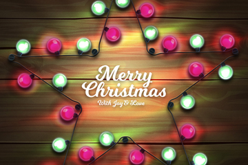 创意圣诞节星形彩灯矢量素材