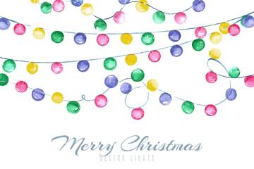 彩绘圣诞节彩灯装饰矢量素材