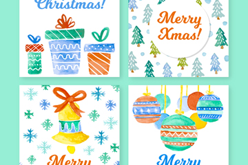 4款清新水彩圣诞卡片矢量素材