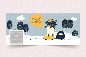 创意圣诞节车辆脸书封面图片矢量