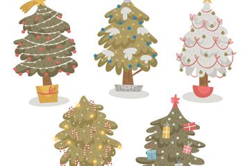 5款创意圣诞树盆栽矢量素材