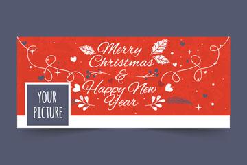 彩绘圣诞节艺术字脸书封面图片矢量图