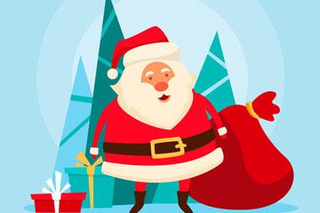 创意圣诞老人和大礼包矢量素材