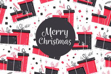 彩绘圣诞礼盒无缝背景矢量图