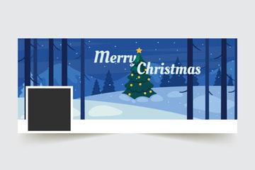 创意雪地圣诞树脸书封面图片矢量图