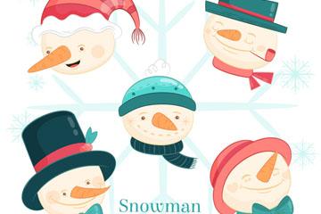 5款可爱圣诞雪人头像矢量图