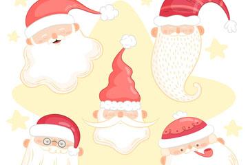 5款创意圣诞老人头像矢量图
