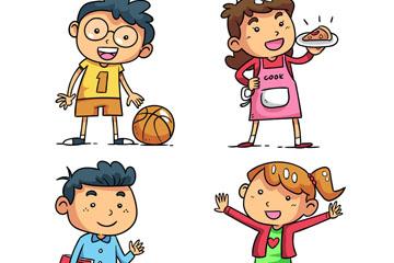 4款卡通笑脸儿童矢量素材
