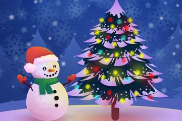 精美雪地圣诞树和雪人矢量图