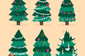 6款可爱绿色圣诞树矢量素材