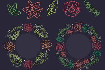 2款彩�L花�h和10款植物矢量�D