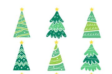 9款清新绿色圣诞树矢量素材