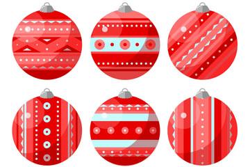 6款红色花纹圣诞吊球矢量素材