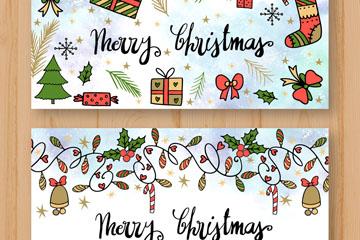 2款彩绘圣诞节banner矢量素材