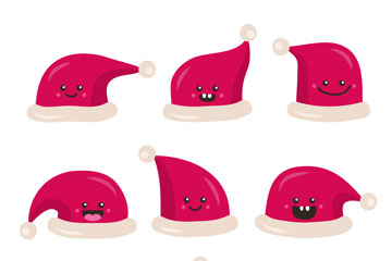 9款可爱表情圣诞帽矢量素材
