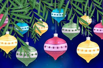 彩色圣诞松枝和圣诞吊球矢量素材