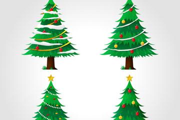 4款创意绿色圣诞树矢量素材