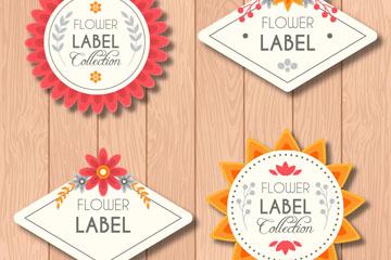 4款纸质花卉标签矢量素材