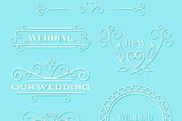 6款白色婚礼花纹矢量素材
