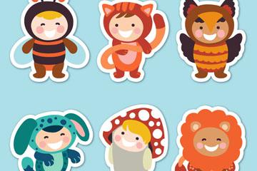 6款可爱动植物装扮儿童贴纸矢量图