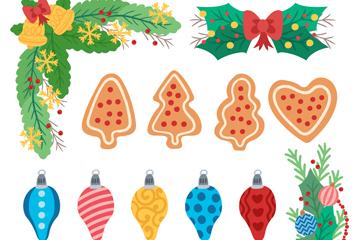 13款彩色圣诞节装饰物矢量图