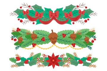 4款彩色圣诞节植物花边矢量素材