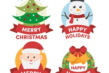 4款可爱圣诞节标签设计矢量素材