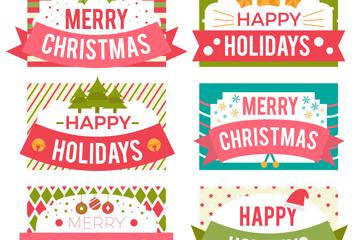 6款清新圣诞假期标签矢量素材