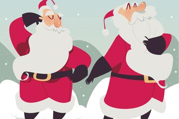 2个彩绘雪中的圣诞老人矢量素材