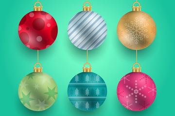 6款精美圣诞吊球矢量素材