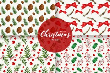 4款水彩绘圣诞花纹无缝背景矢量