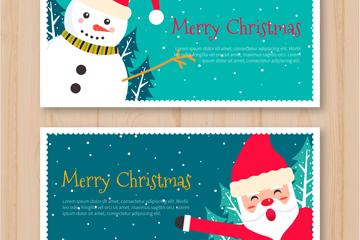 2款可爱圣诞老人和雪人banner矢量图