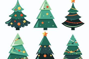 6款深绿色圣诞树矢量素材