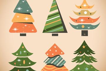 6款做旧效果圣诞树矢量素材
