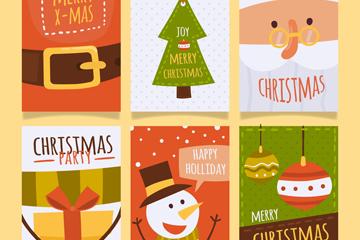 6款扁平化圣诞卡片矢量素材